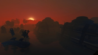 Red dawn behind Vivec