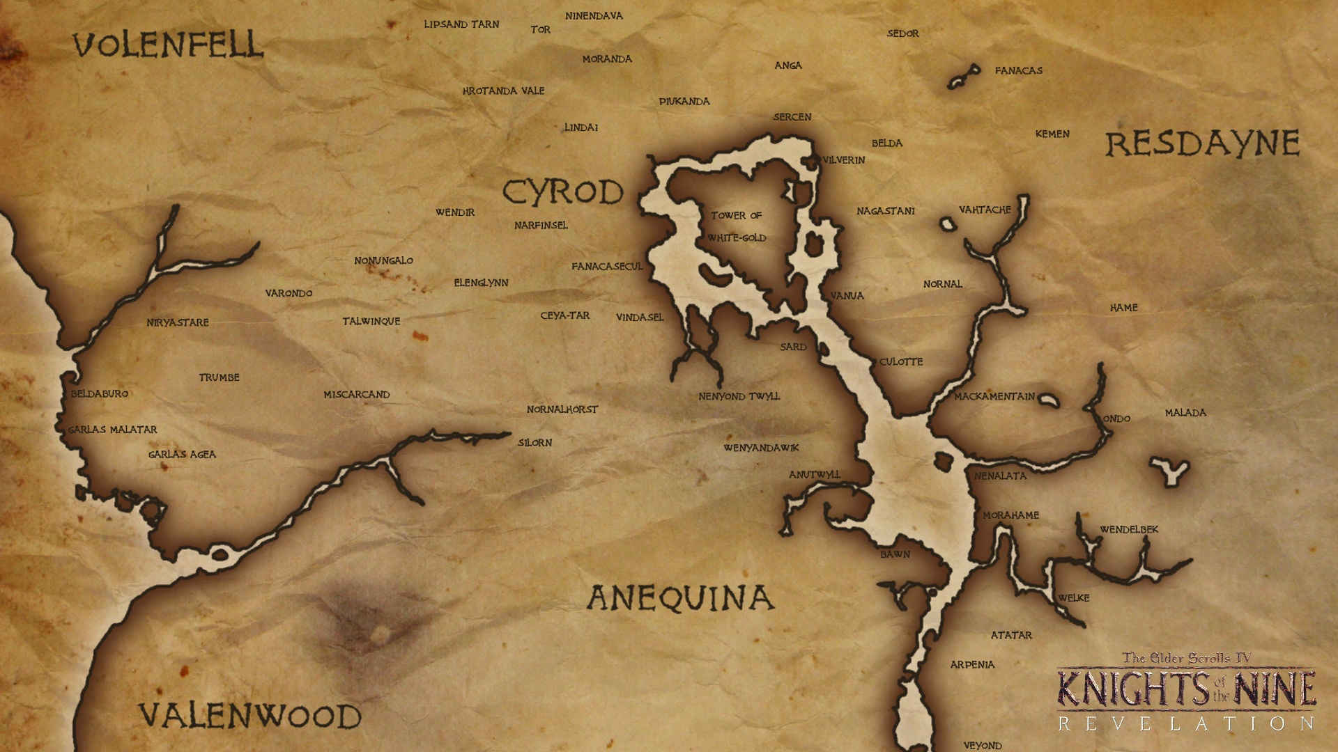 Knights of the Nine Revelation - Cyrod Map at Oblivion Nexus ... on full skyrim map, full map of fallout new vegas, elder scrolls oblivion, full map of gta 4, full oblivion caves map map,