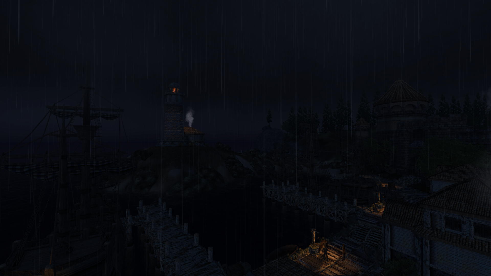 Rainy night at Anvil harborside