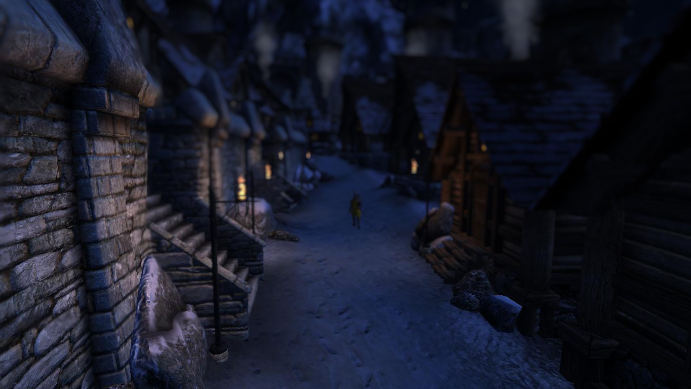 Snowy Road To Bruma with lights