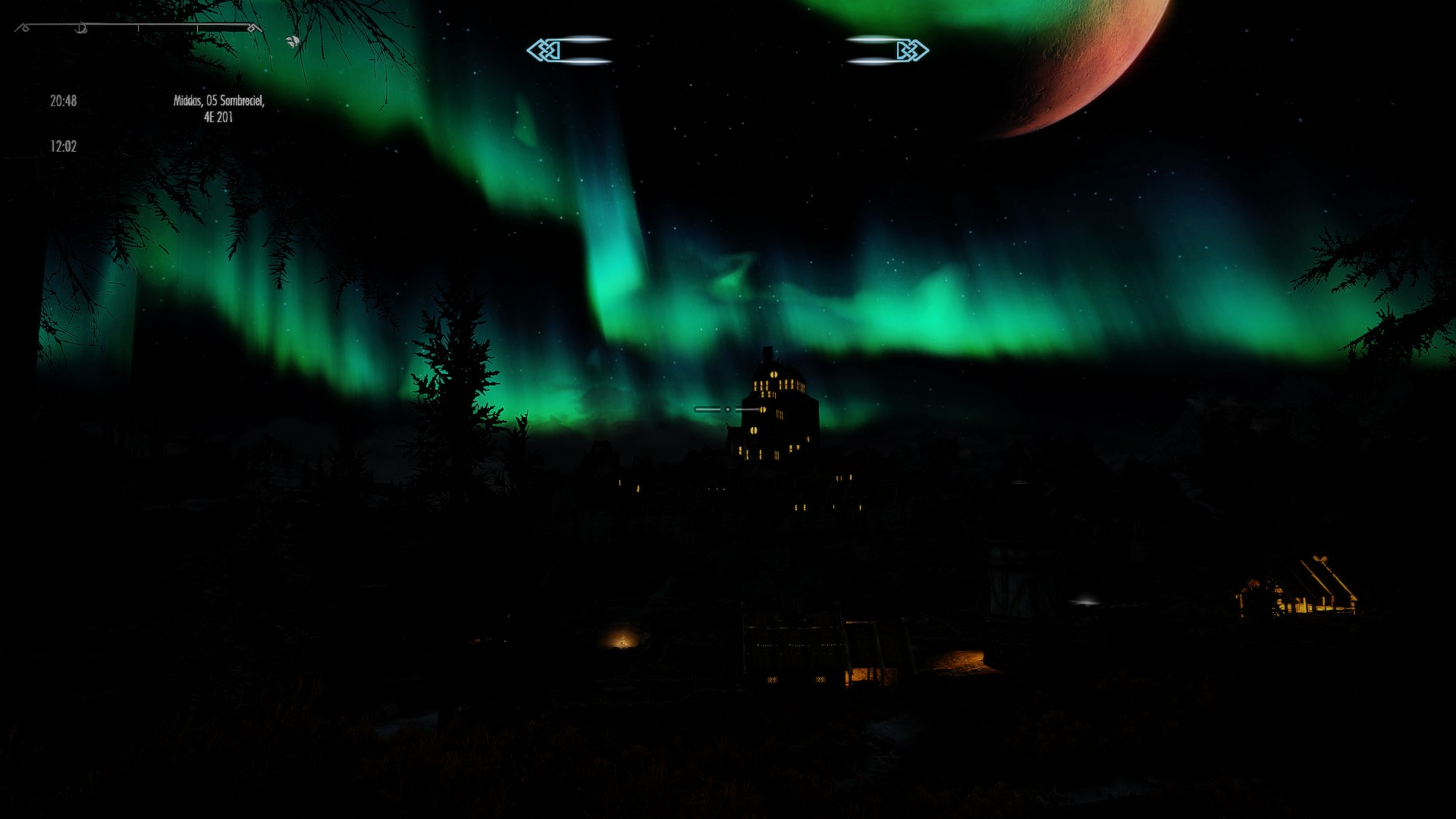 Skyrim at night with a sweetfx preset