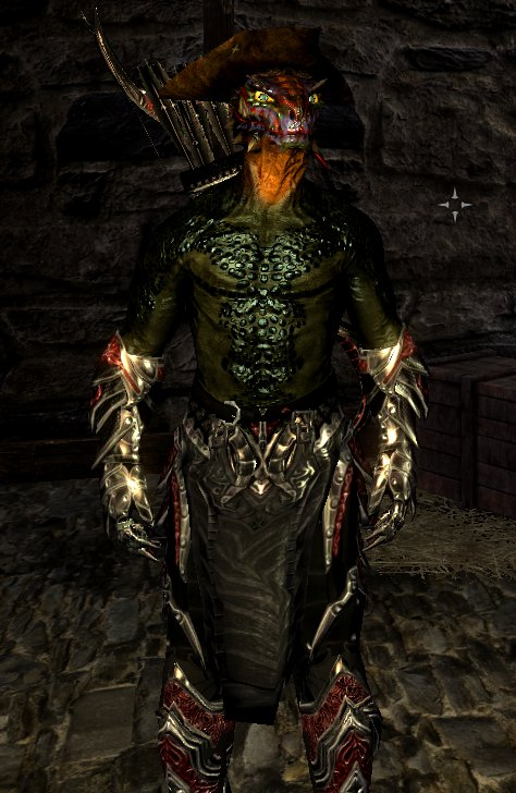 Light Argonian Merc Armor With Daedric Armor And Weapon Improvements