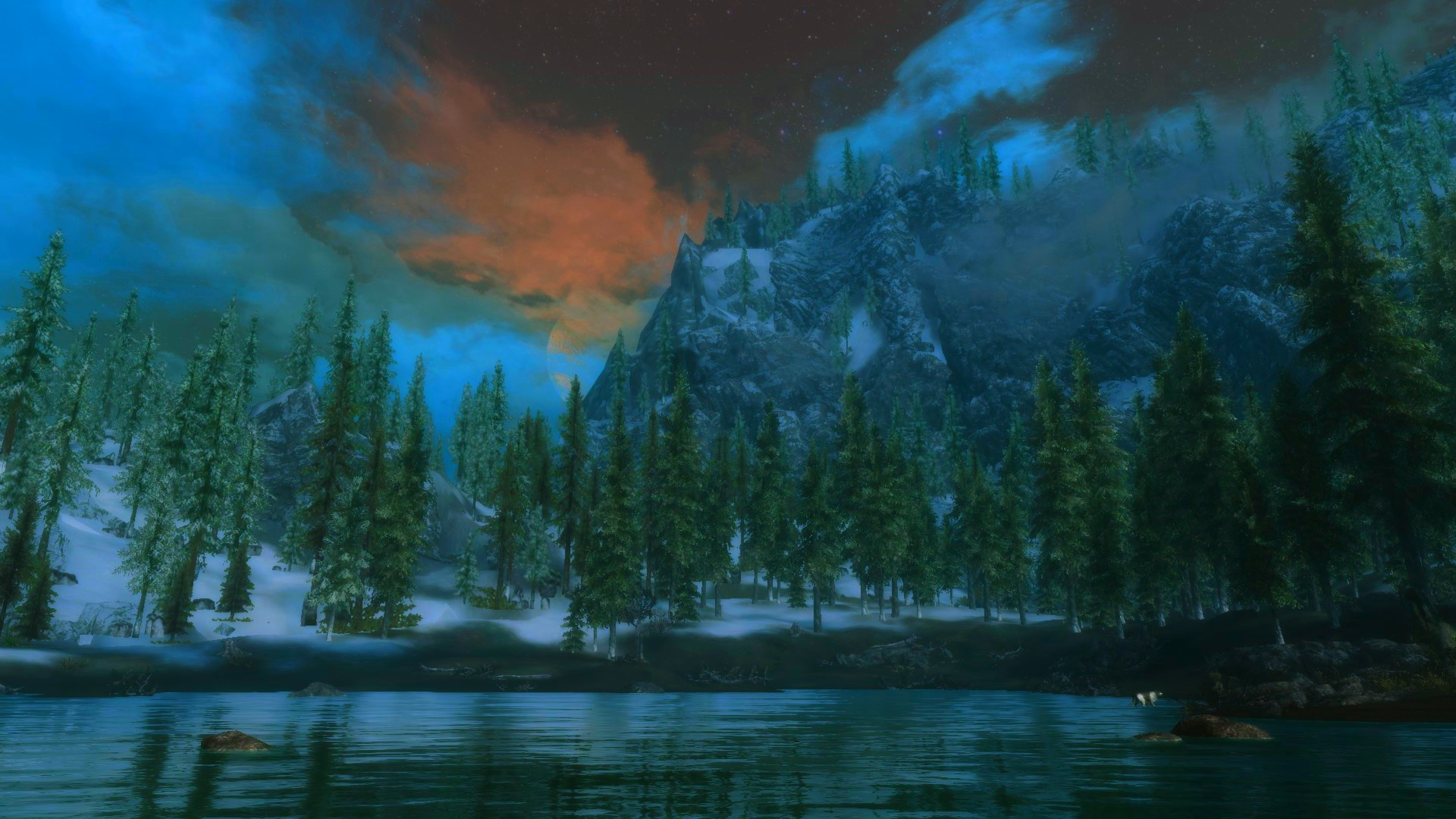 Moon rising above skyrim