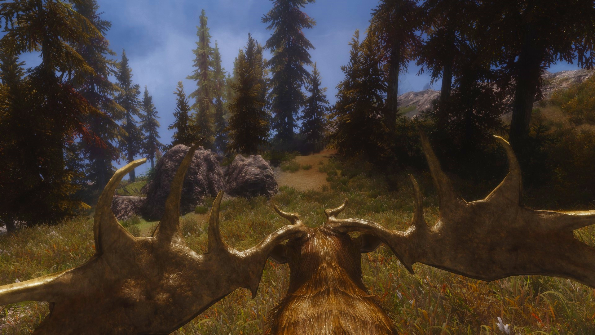 Riding a deer in Skyrim