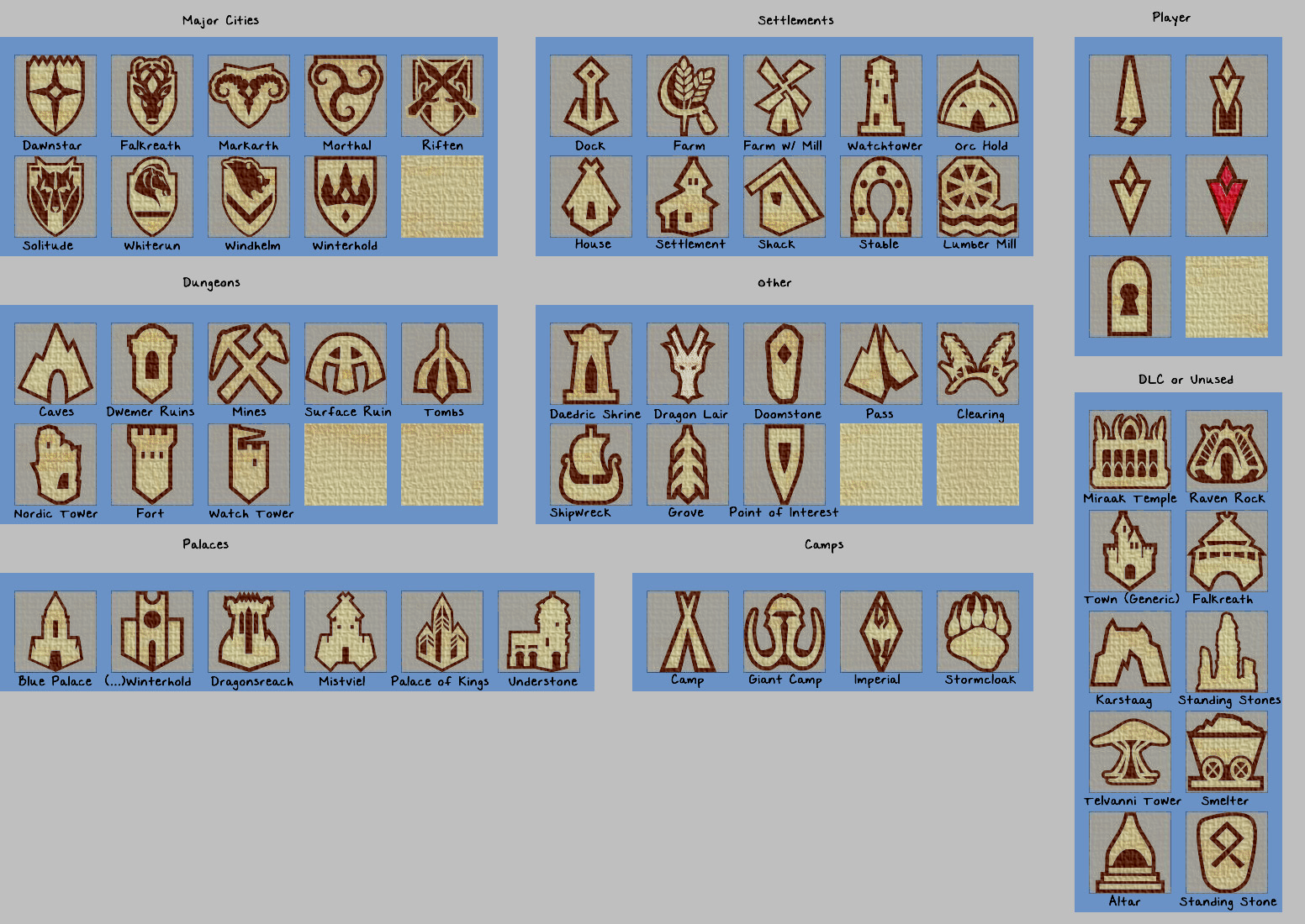 Skyrim Map Legend Paper Map Icons at Skyrim Nexus   mods and community