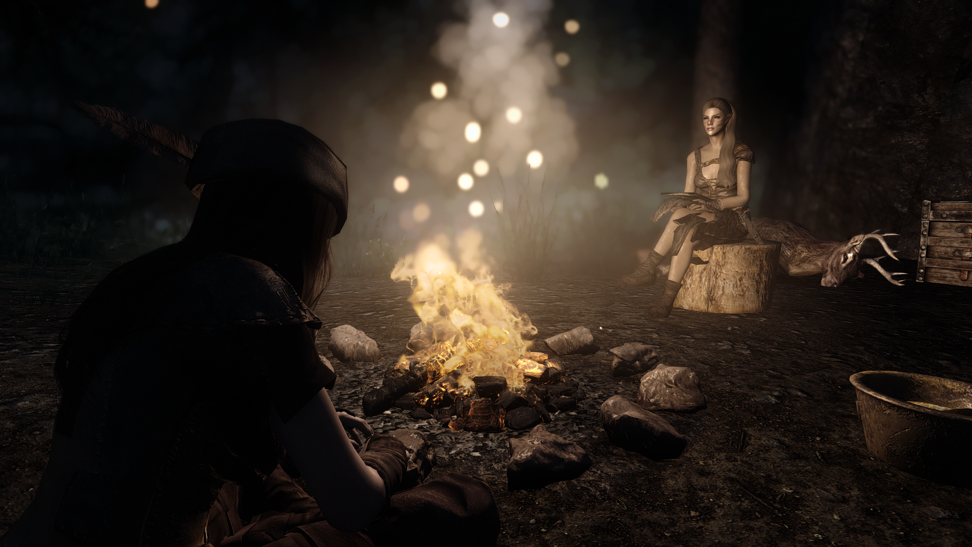 Chilling at the campfire