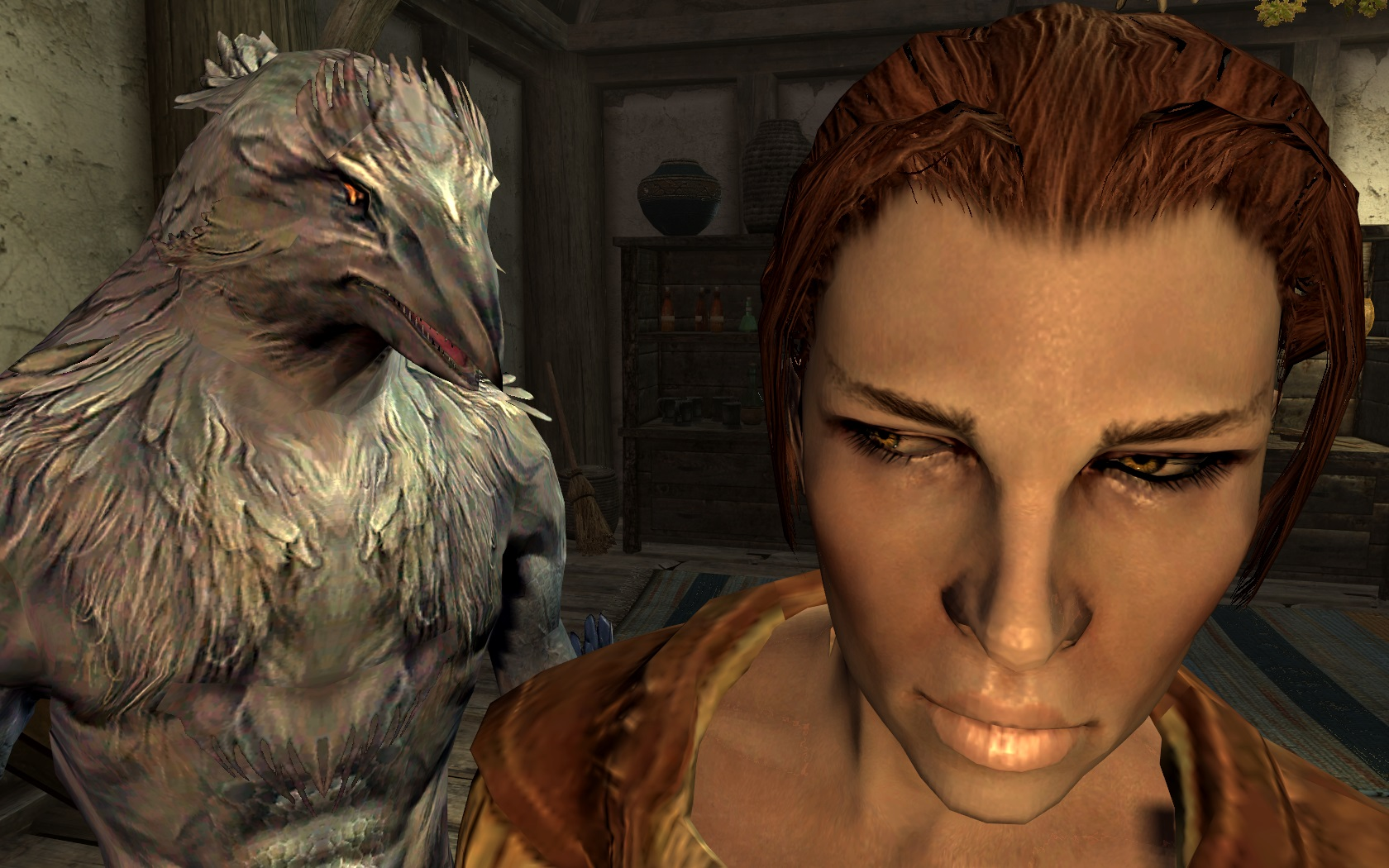 White Avian and Hulda in Skyrim