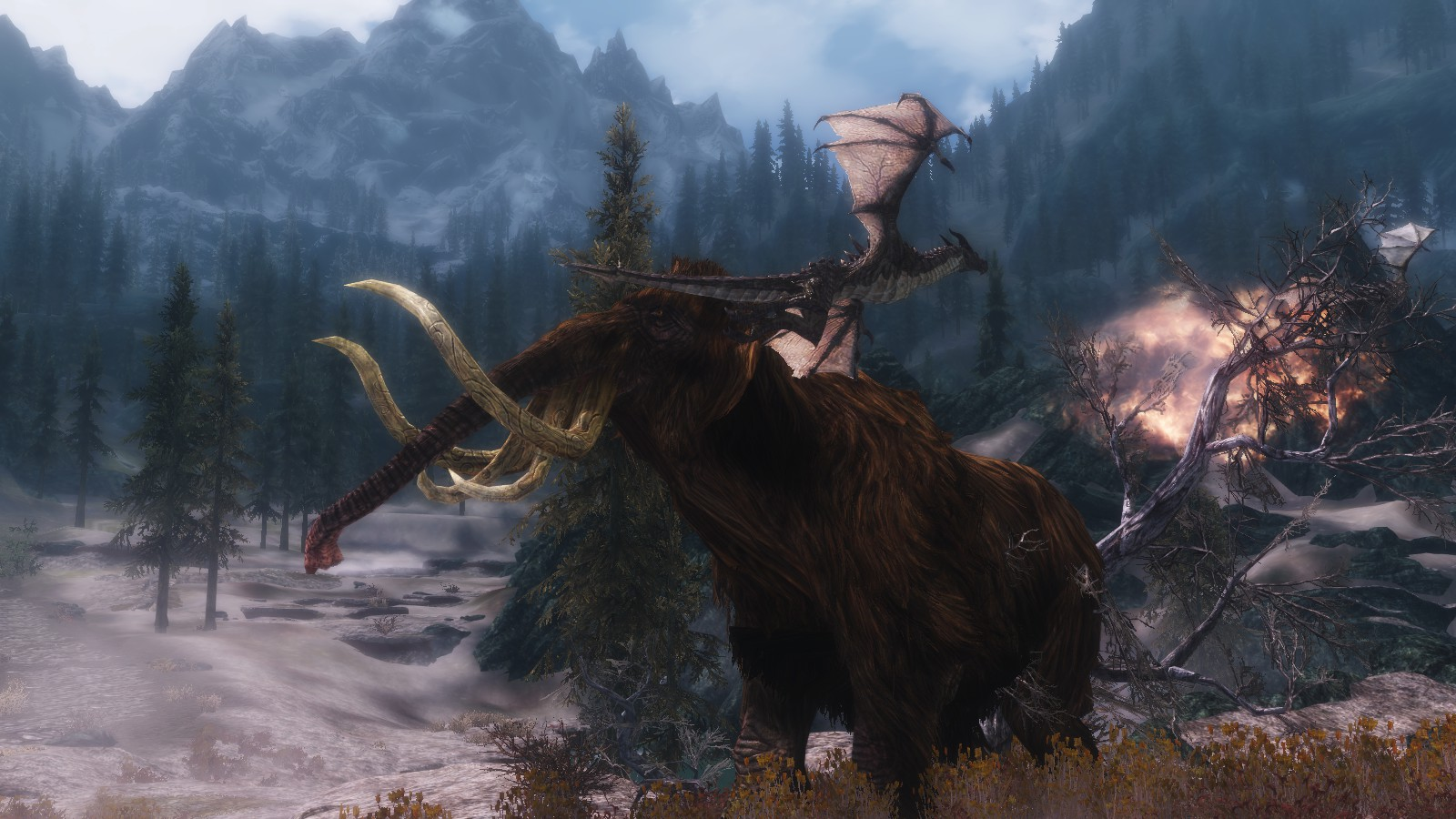 Baby dragon vs mammoth