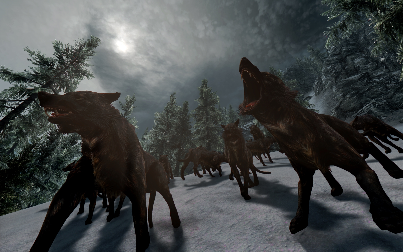 Wolfess running around with teeth and claws bared looking for another kill