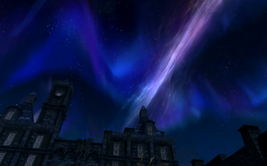 Blue palace in Solitude night sky