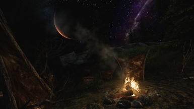Campfire by the moon