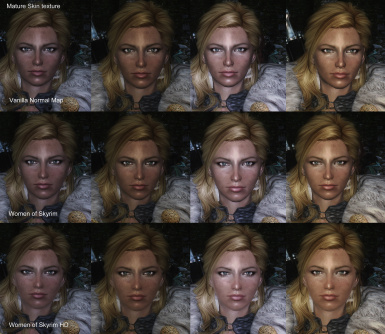 Mature face textures with different normal maps