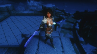 Cirie on the roof of Winterhold