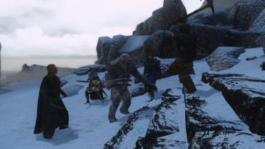 Stormcloak and Imperial Peace Delegation bringing peace to a Frost Troll