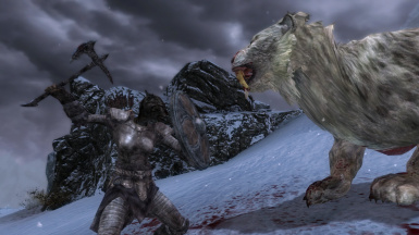 Snow and smilodon and blood