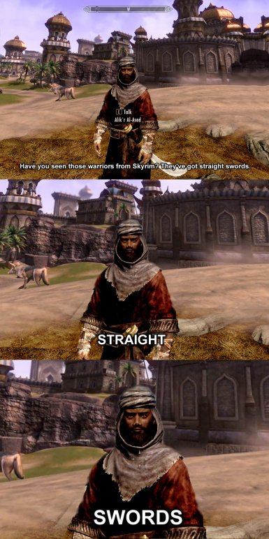 Warriors in Skyrim have straight swords