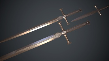 Silver Sword Lowpoly baked