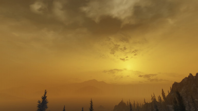 Foggy sunset in Solstheim