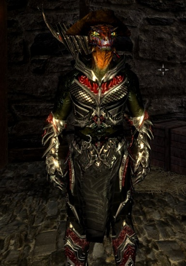 Heavy Argonian Merc Armor with Daedric Armor and Weapon Improvements