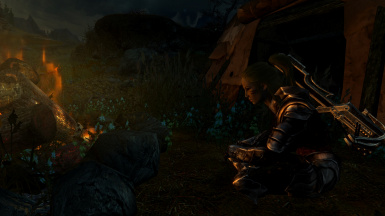 Relaxing by the campfire