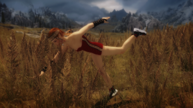 Skyrim girl  show some moves ohhh she tripped auch