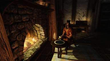 Sitting by the fireplace