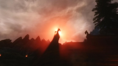 The sun rising over Whiterun