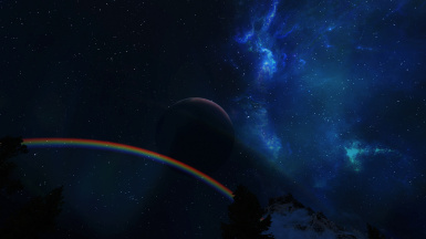 Rainbow Moon and Galaxy
