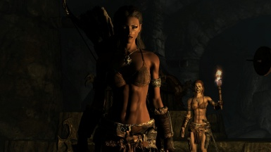 Salessi Darkwater and her Shield Sister Aela the Huntress