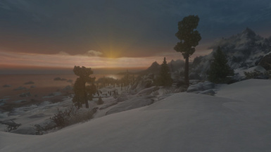 Sunrise as leaving Winterhold