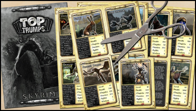 Skyrim Top Trumps - Cutting Out