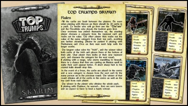 Skyrim Top Trumps - Rules