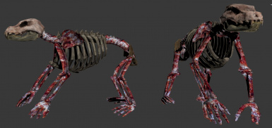 Realistic Skinned Animals - Bear skeleton with example bloody textures