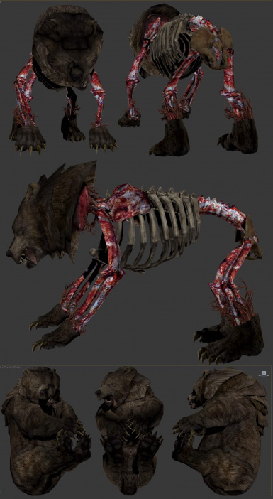 Realistic Skinned Animals - Processed bear carcas WIP and  Hauled bear backpack replacer