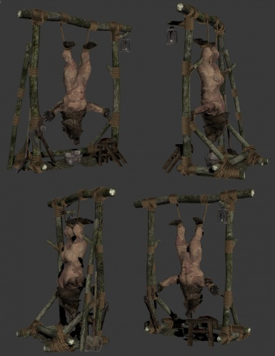 Realistic Skinned Animals - Bear body mounted in Hunting Rack and skinned