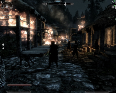 Riverwood after a dragon's attack