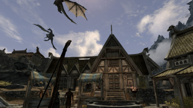 Three Dragons in Whiterun City