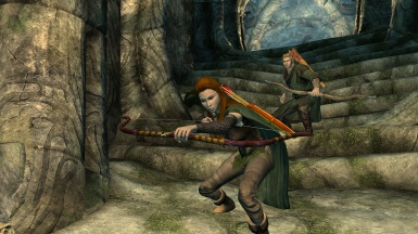 Legolas and Tauriel are sneaking  up on the bad boys