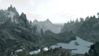 A misty mountain view
