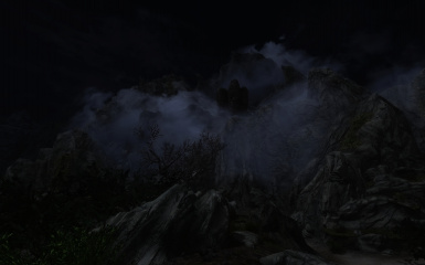 Foggy Mountains at Night 01