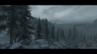 Foggy and cloudy day in Skyrim