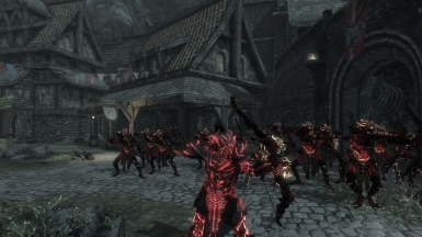 The falmer King and his army pillaging Solitude