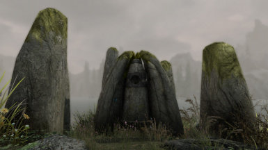 Standing Stone On Small Island In Lake