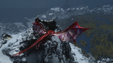 Windhelm and Riften and Red Mountain and Paarthurnax visible