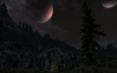 Two Moons In The Night Sky And Whiterun In The Distances