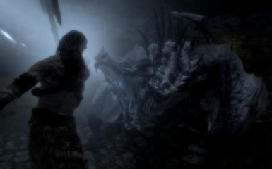 Giant Defend Himself Against A Frost Dragon Attack