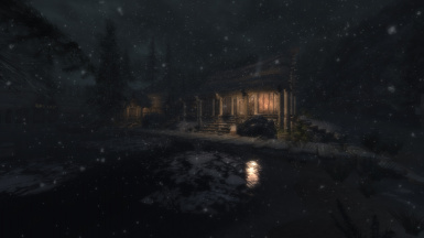Snowy Night in Morthal Town
