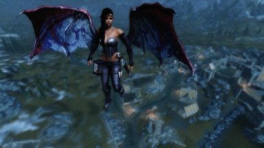 Trying out Flying Mod Beta alongside the animated dragon wings mod on my character Kitrana