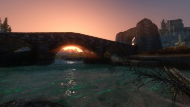 Sunset under ewi's phenomenal bridge near Whiterun