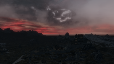 Whiterun and red sky